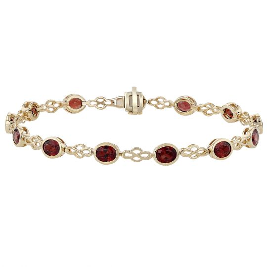 Oval Garnet 13 Stone Lace Link Bracelet in Yellow Gold