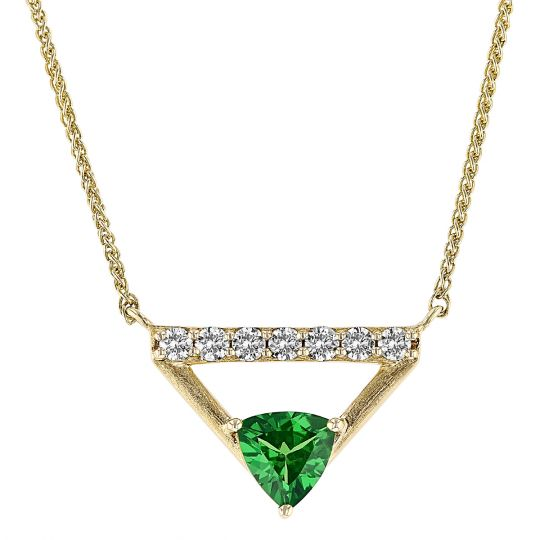 Trillion Tsavorite Garnet & Diamond Bar Triangle Necklace in Yellow Gold