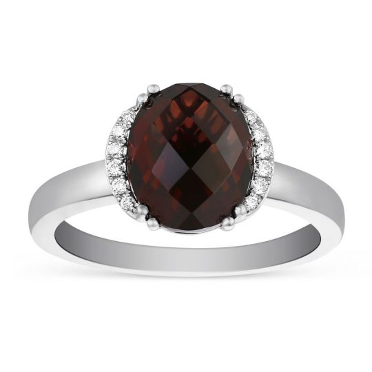 14K White Gold Oval Garnet & Diamond Ring