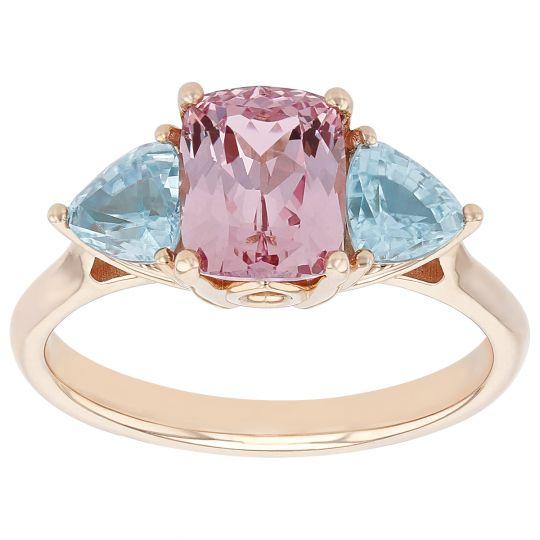 Cushion Lotus Garnet & Trillion Zircon 3 Stone Ring in Rose Gold