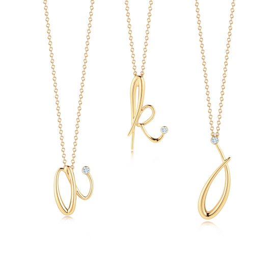 kwiat gold initial pendant necklace