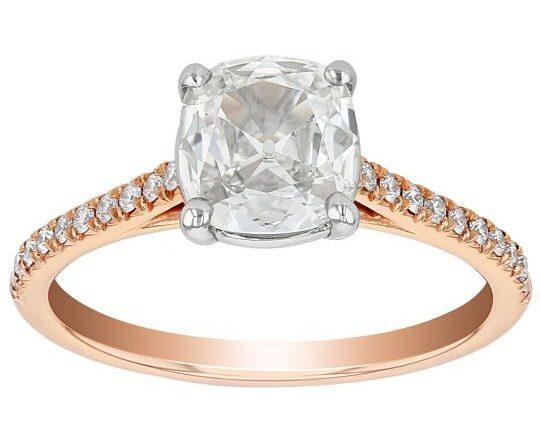rose gold cushion cut engagement ring