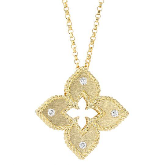 princess flower yellow gold pendant