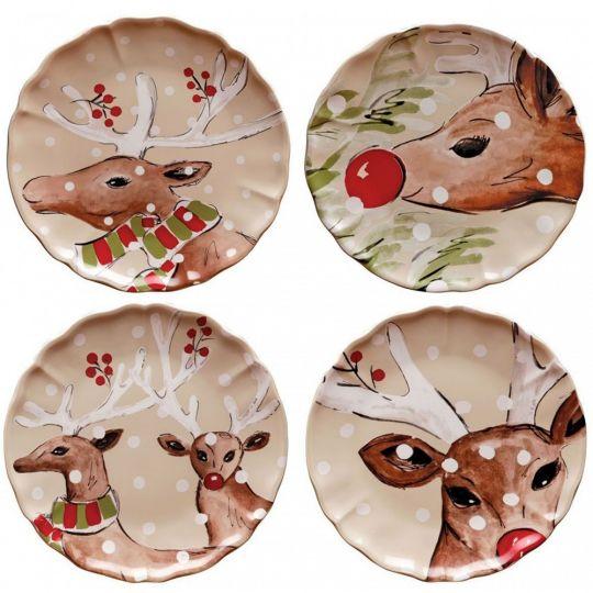reindeer holiday plates