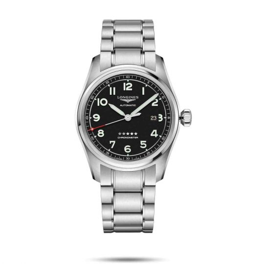 longines spirit watch with black dial