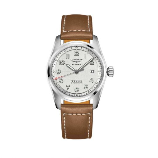 longines spirit watch with grey dial