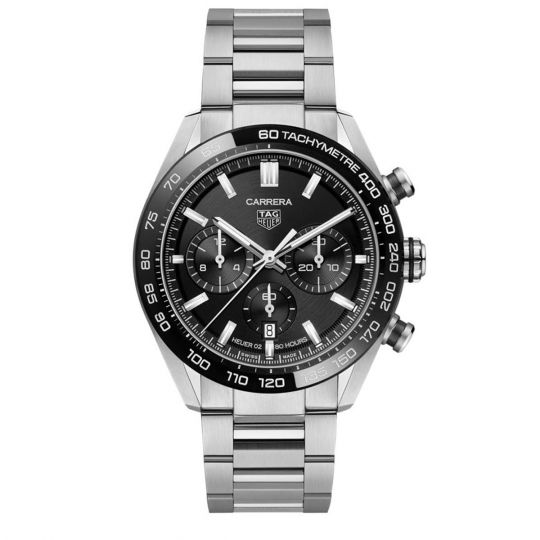 tag heuer watch with black and silver dial