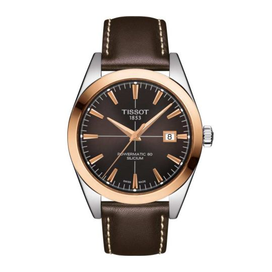 tissot gentleman watch with brown dial