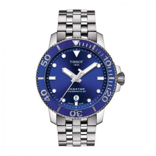 tissot seastar watch with blue dial