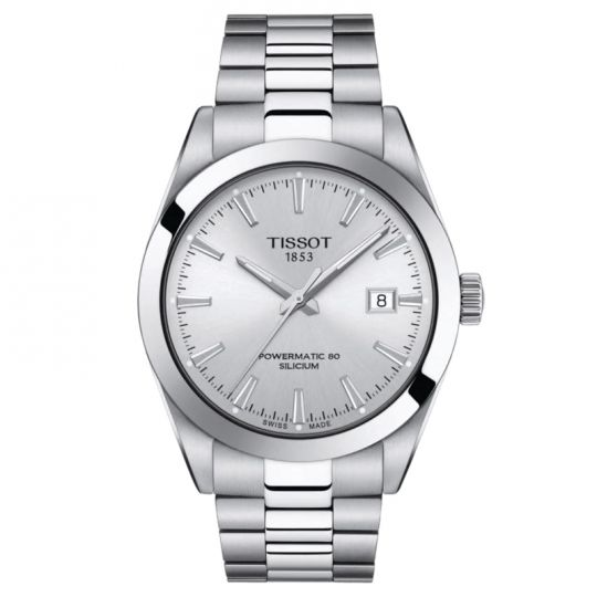 tissot gentleman watch with silver dial
