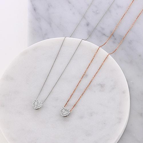 dainty diamond heart necklaces