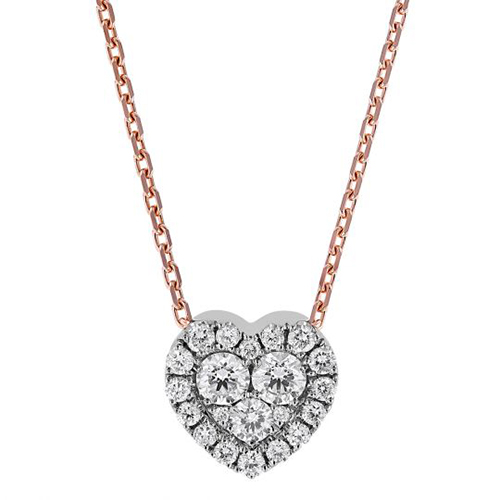 cluster diamond heart necklace