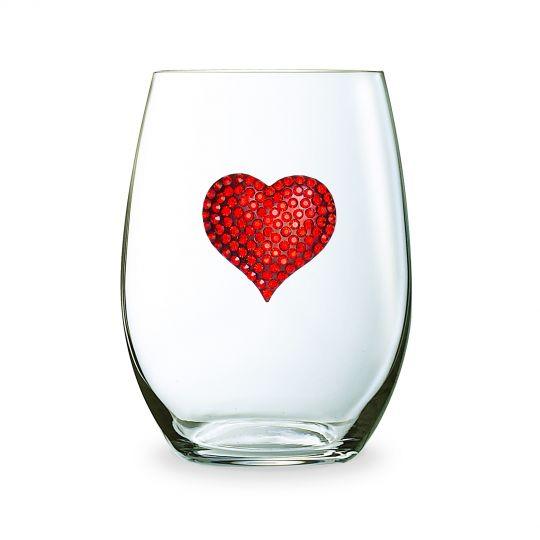 red heart wine glass