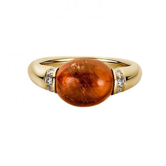 orange tourmaline cabochon ring