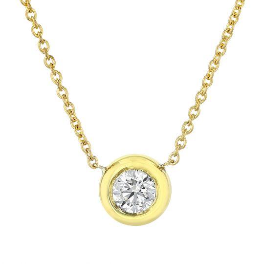 yellow gold diamond bezel pendant necklace