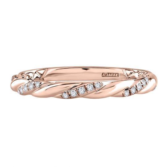 rose gold twisted diamond wedding band