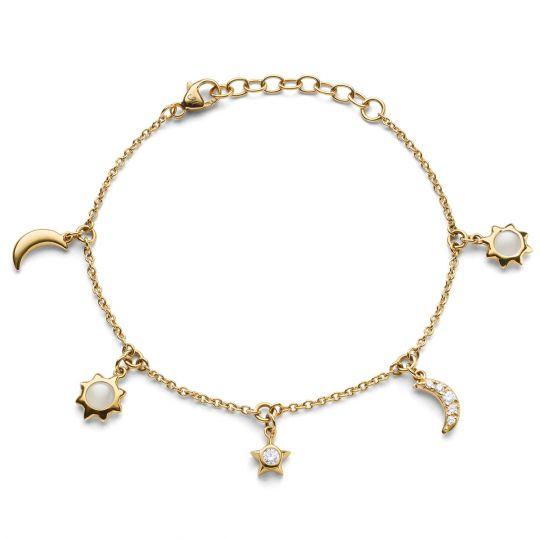 Yellow gold sun, moon and stars charm bracelet