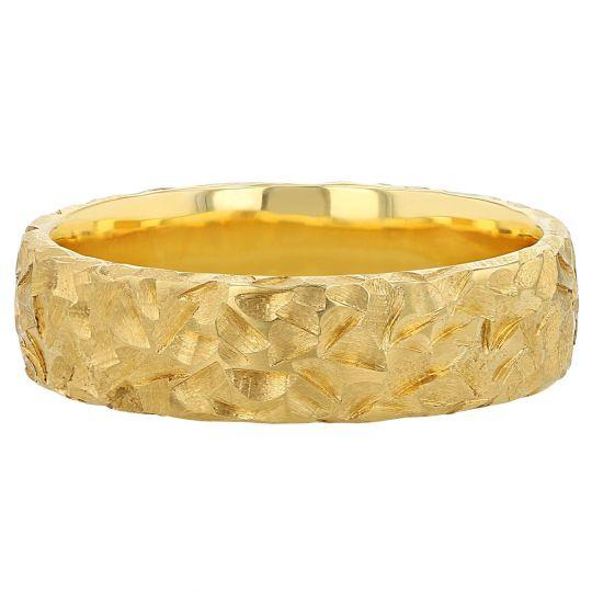 yellow gold chiseled wedding band