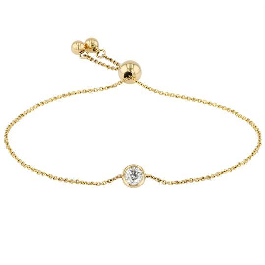 yellow gold diamond station slider bracelet