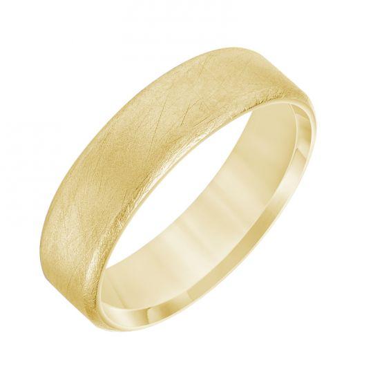 yellow gold satin finish wedding band