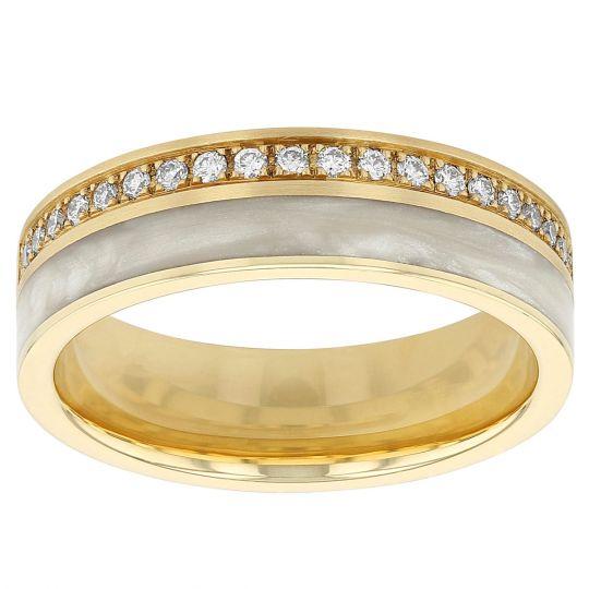 yellow gold & white ceramic wedding ring with diamonds