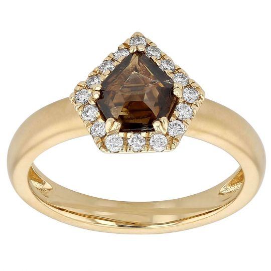 Brown Kite Diamond Ring in Yellow Gold