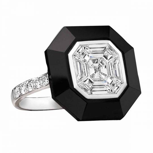 Diamond Mosaic and Black Onyx Ring