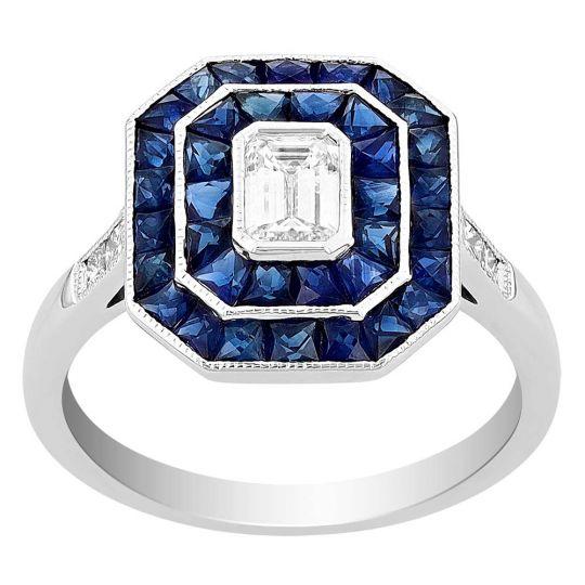 Diamond and Sapphire Octagon Ring