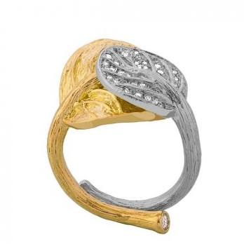 Botanical Leaf Double Bypass Diamond Ring