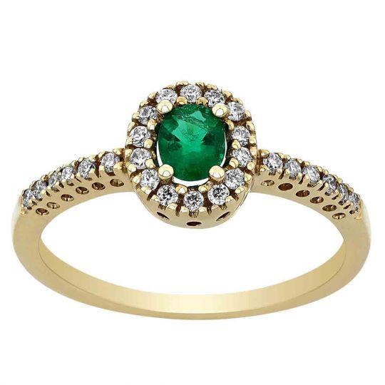 Emerald Ring with Diamond Halo