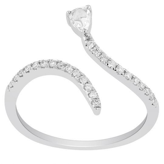 Pear Shaped Diamond Open Ring
