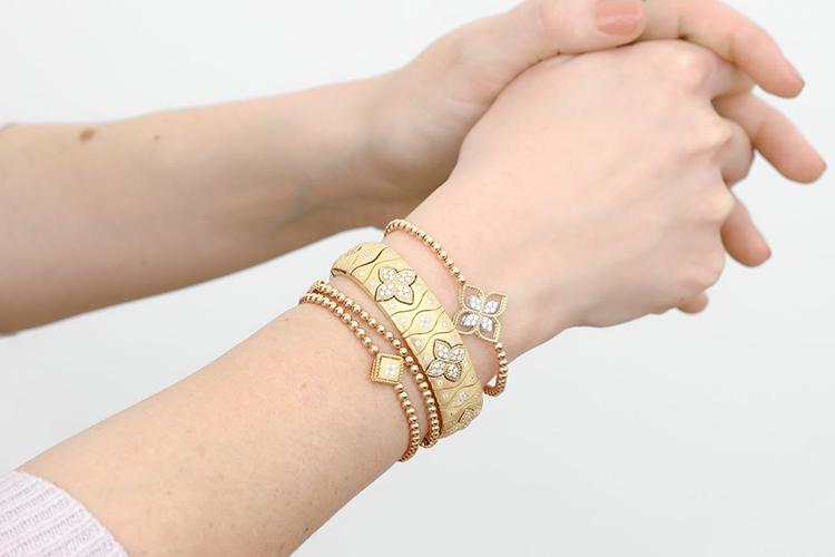 floral yellow gold bracelets
