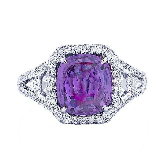 JB Star Platinum Cushion Purple Sapphire, White & Yellow Diamond Ring
