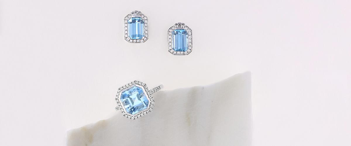 aquamarine earrings and ring