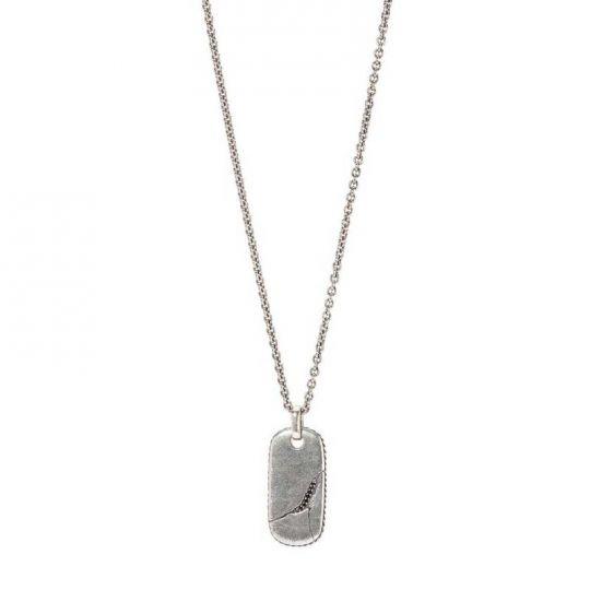 1460c772e42 John Varvatos Sterling Silver Black Round Diamond Distressed Dogtag Pendant  with Chain | Borsheims