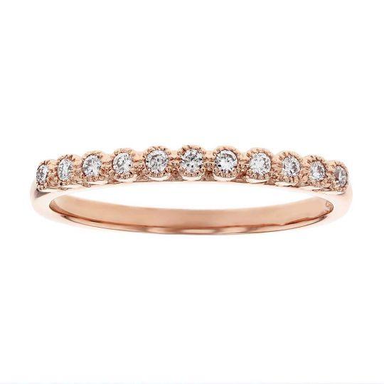 14k Rose Gold Round Diamond Milgrain Bezel Set Wedding Band