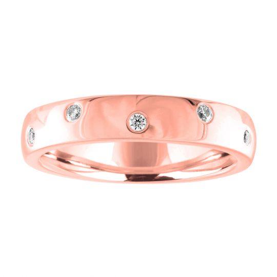 14K Gold Diamond Curved Wedding Band 0.10cttw