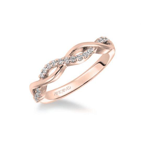 Artcarved 14k Rose Gold Diamond Twisted Wedding Band Borsheims