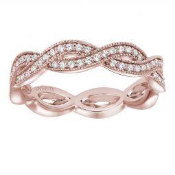 Artcarved 14k Rose Gold Diamond Woven Eternity Wedding Band