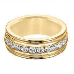 865b05b00e 8.5 mm Diamond Channel Set High Polish Wedding Band with Milgrain Edge in Yellow  Gold,