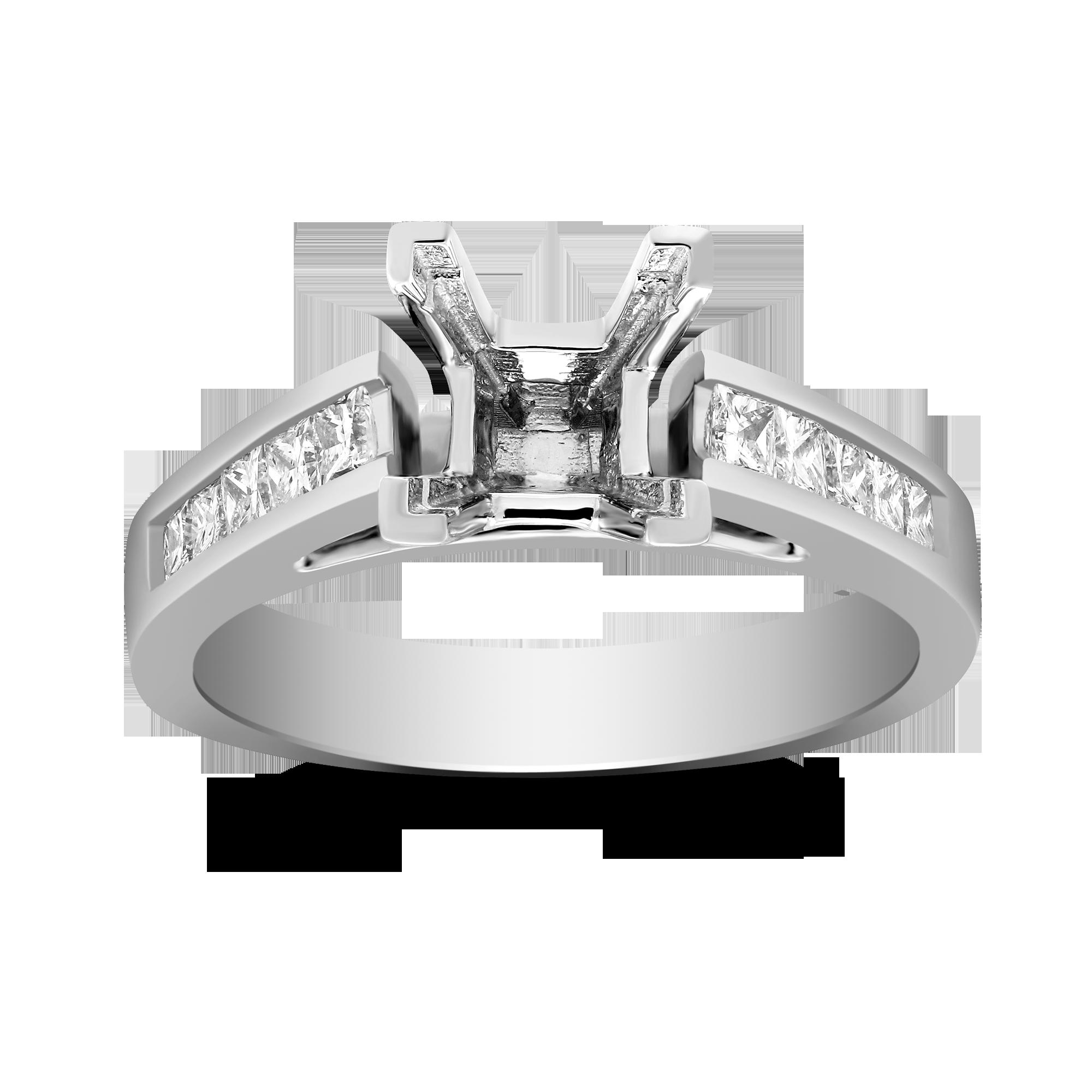 8836c7ae04379 14K White Gold Channel Set Princess Cut Diamond Ring Mounting