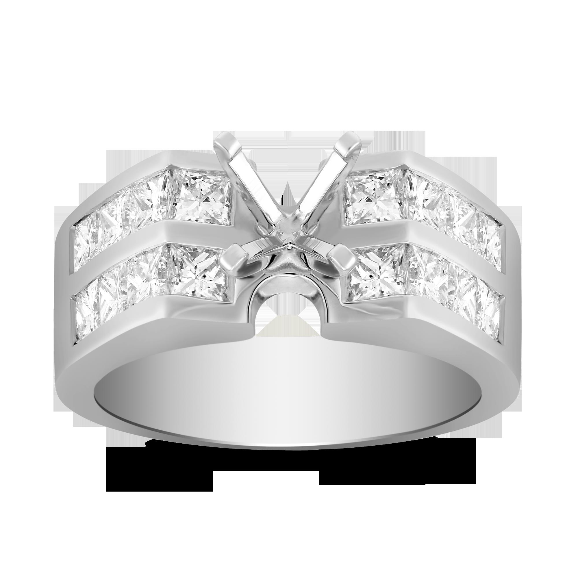14k White Gold Double Channel Set Princess Cut Diamond Ring Mounting