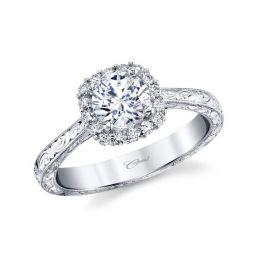 ad9aa9669455ac 14K White Gold Diamond Square Halo Milgrain Filigree Ring Mounting