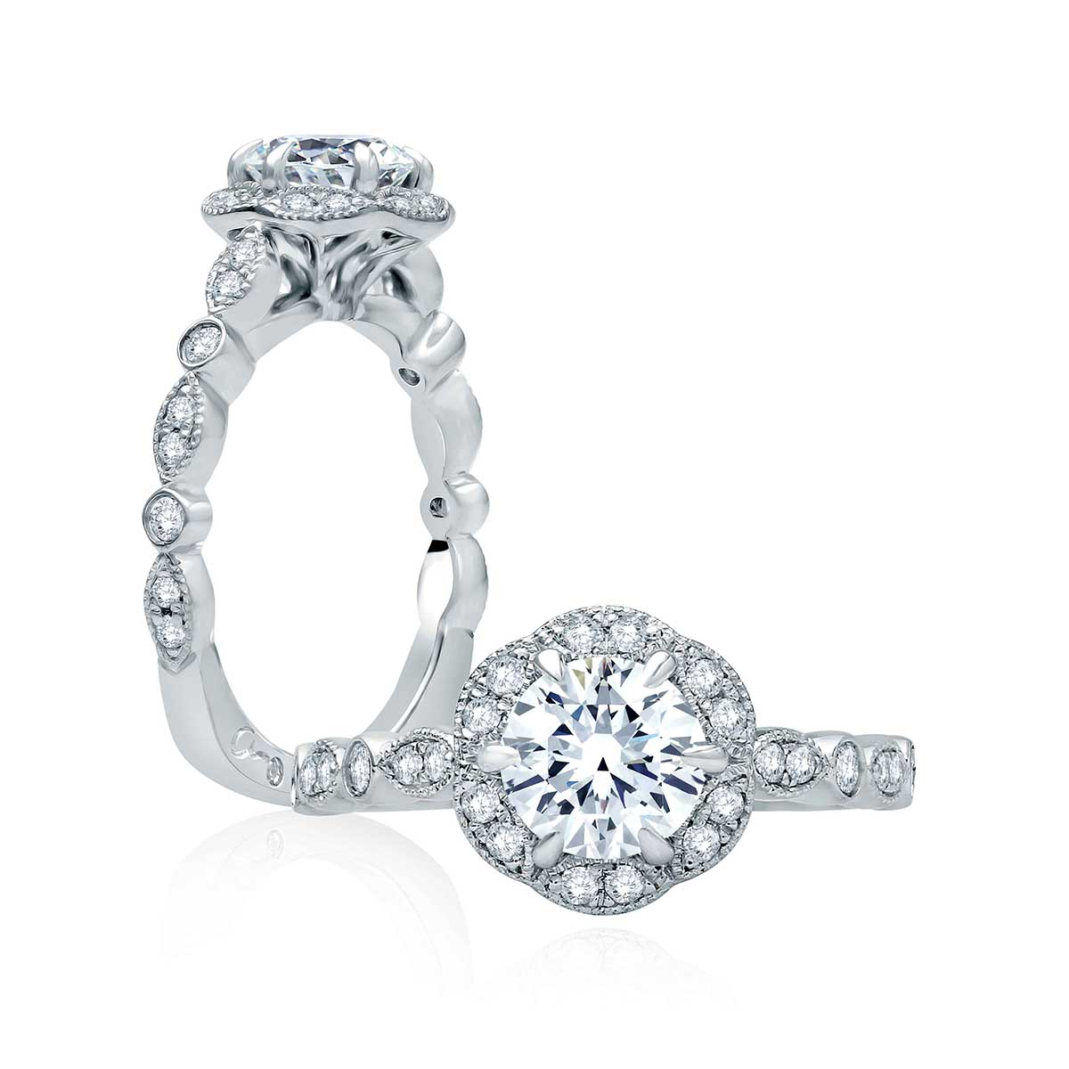 platinum engagement in i ring rings round diamond ct mounted