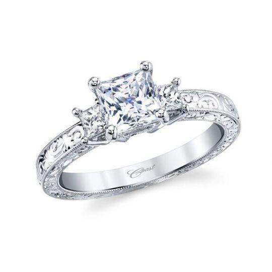 92ac1ae97199f4 14K White Gold Princess Cut Diamond 3 Stone Ring Mounting with Filigree  Shank & Gallery   Borsheims