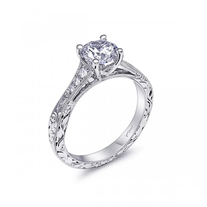 2ace4d2e002a18 14K White Gold Diamond Milgrain Patterned Ring Mounting | Borsheims