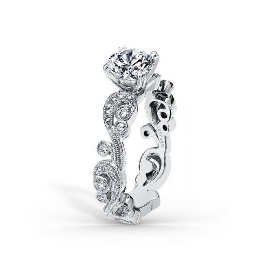 9b3a41a9cd83f Kirk Kara 18K White Gold Diamond Scrollwork Angelique Ring Mounting
