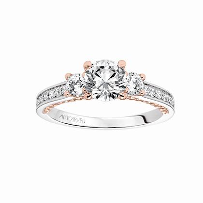 e3cbd09695d ArtCarved 14K White   Rose Gold Round Diamond Marlow Ring Mounting ...