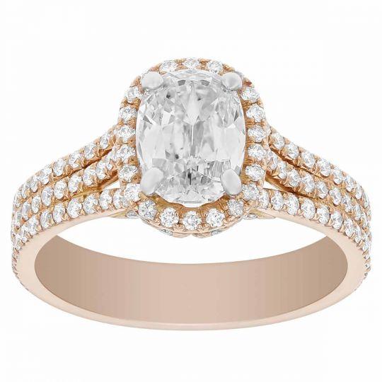 Elege 18k Rose Gold Elongated Cushion Diamond Ring With Halo 3 Row Shank 1 43 Ct