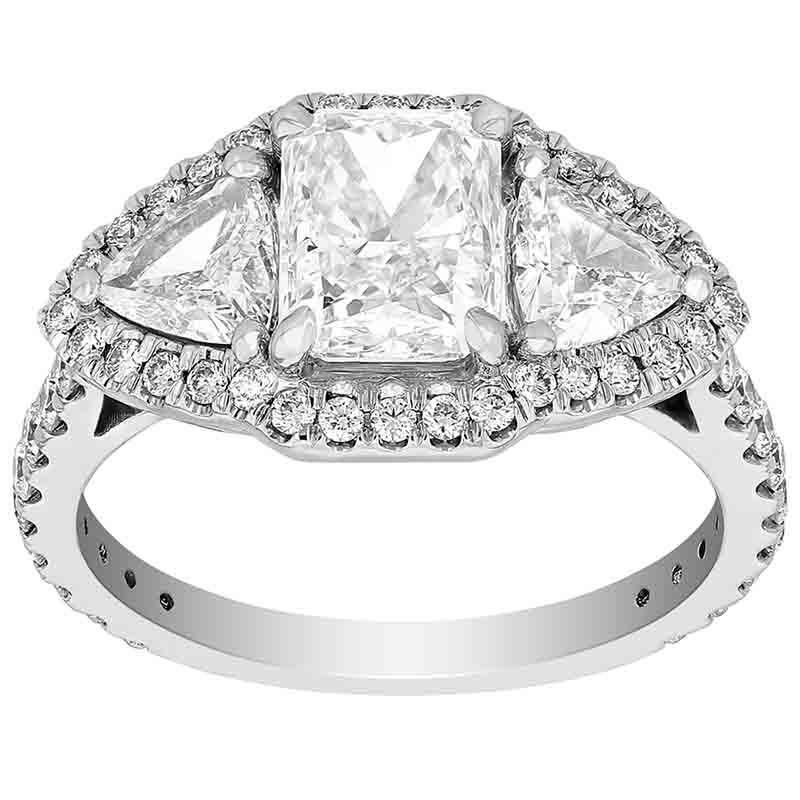Stuller Three Stone Side Stones: Radiant Diamond 3 Stone Engagement Ring With Trillion Side